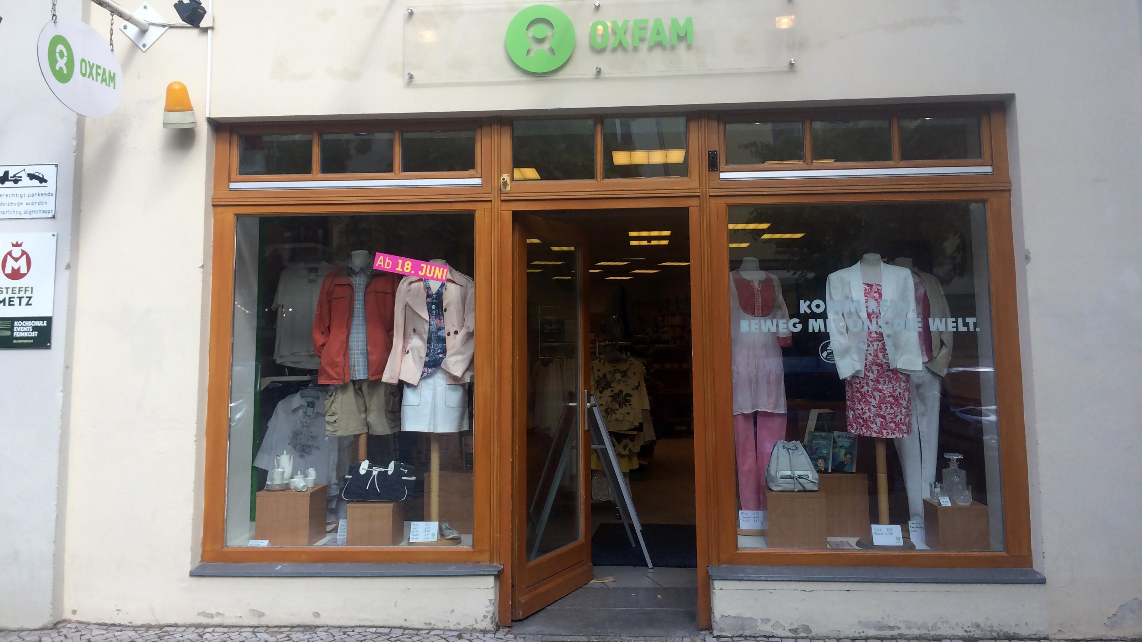 Vorübergehend finden Sie den Oxfam Shop Potsdam in der Dortusstraße.