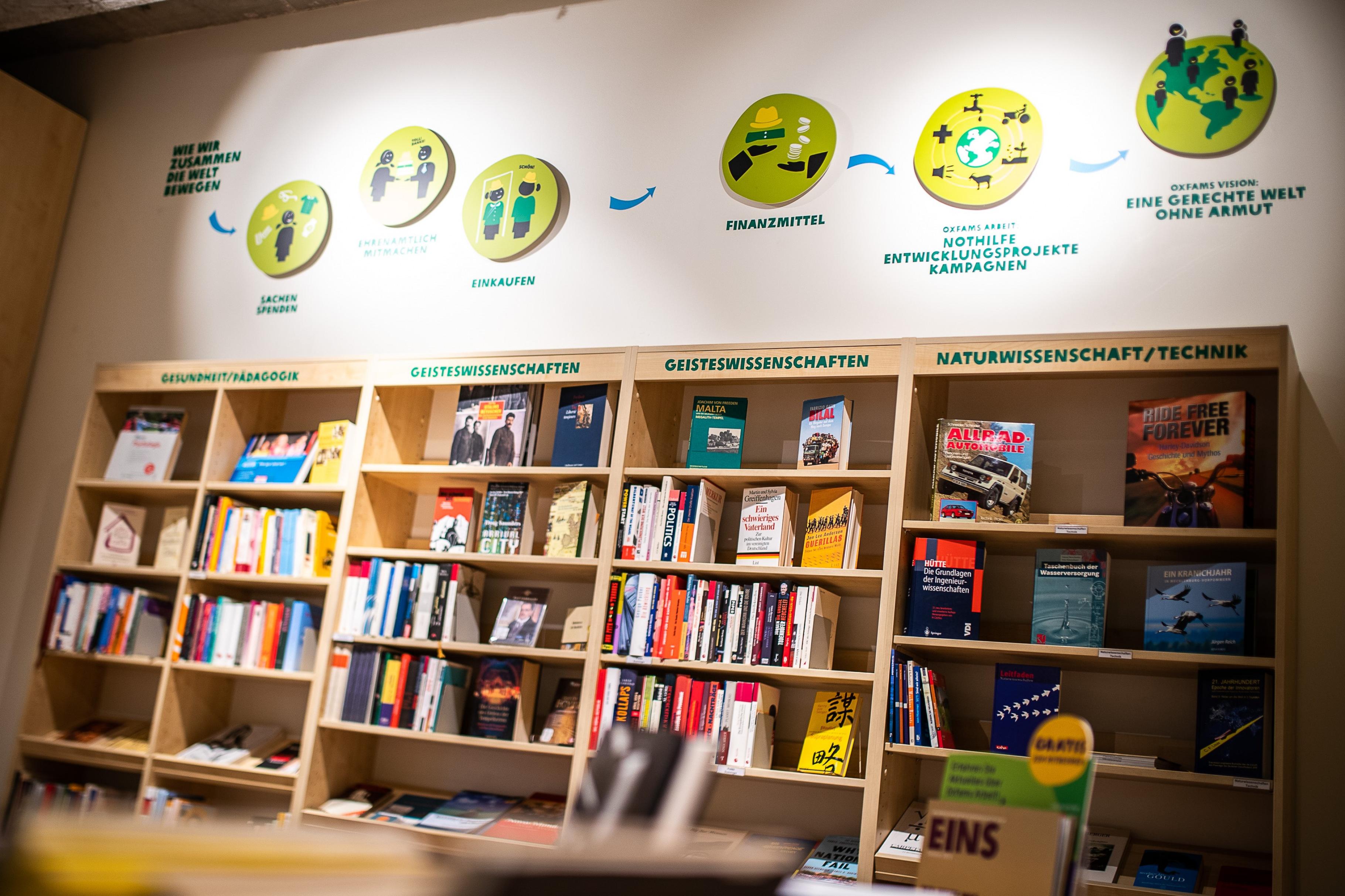 Blick in den Oxfam Buchshop Berlin-Schöneberg