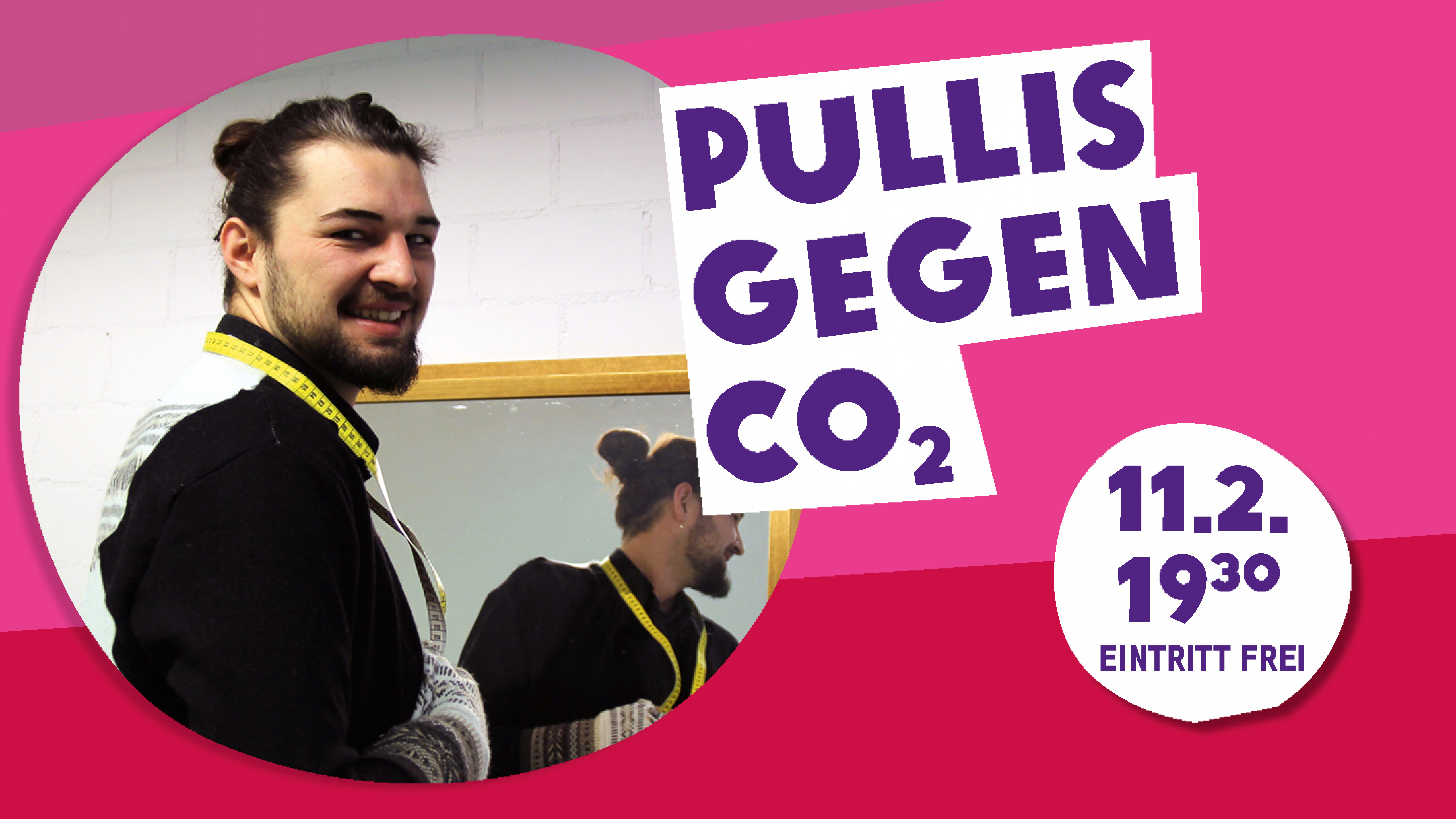 Der Studierende Nils Dominic Casper präsentiert Upcycling-Mode.