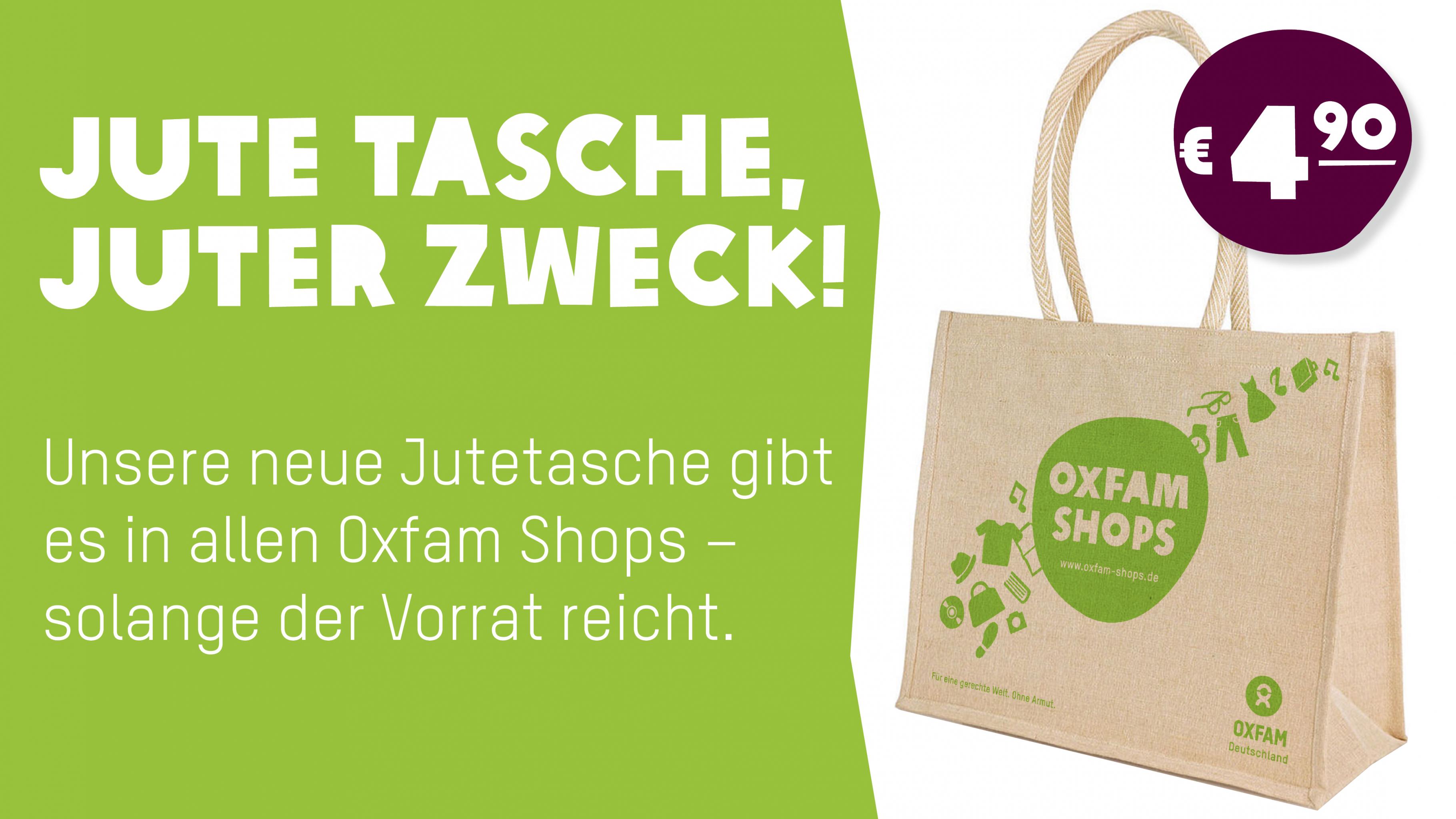 Die neue Jutetasche gibt es in allen Oxfam Shops