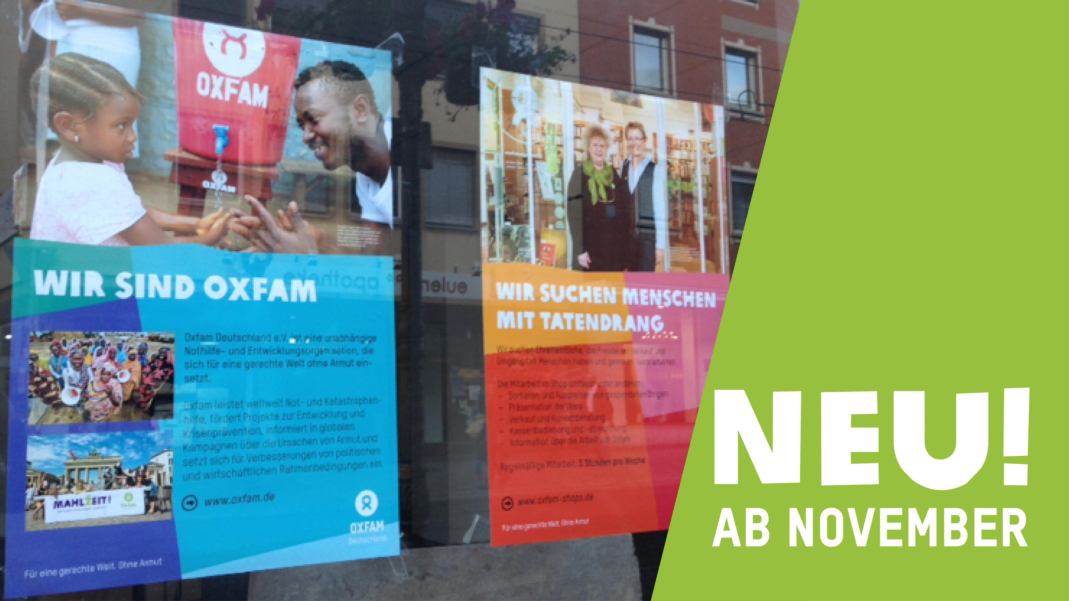 Oxfam Shop Würzburg - Schaufenster vor der Eröffnung