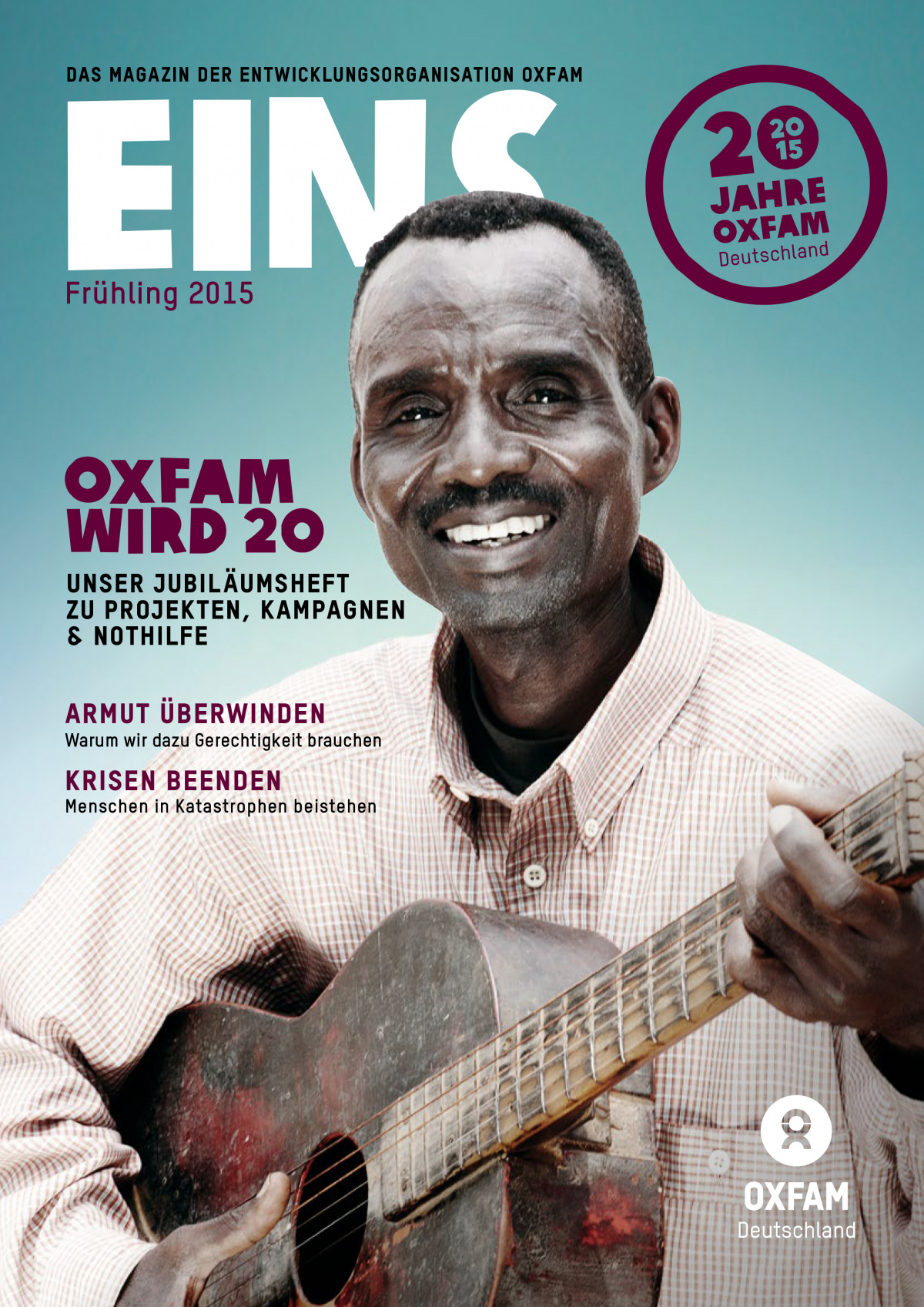 Titelbild vom Oxfam-Magazin EINS (Jubiläumsausgabe Frühjahr 2015)