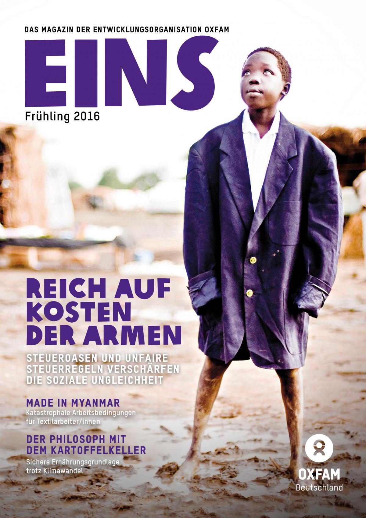 Titelbild vom Oxfam-Magazin EINS (Frühjahr 2016)