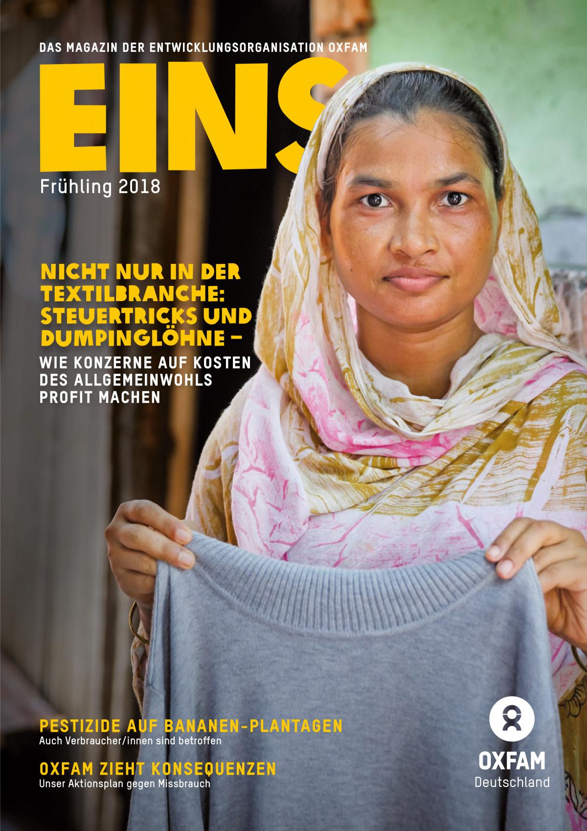 Titelbild vom Oxfam-Magazin EINS (Frühling 2018)