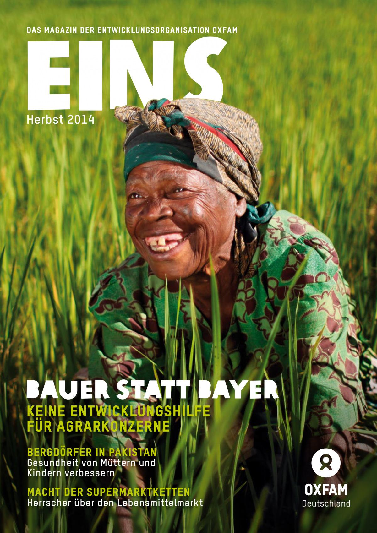 Titelbild vom Oxfam-Magazin EINS (Herbst 2014)