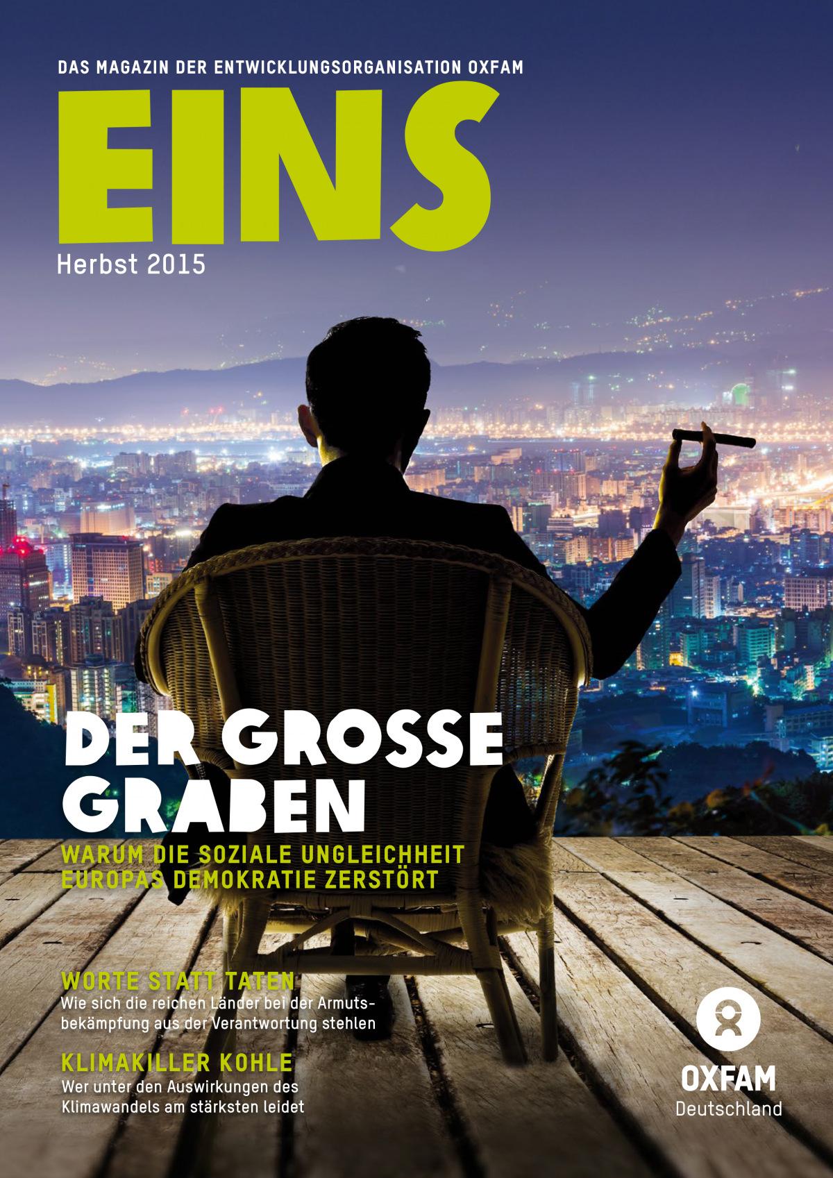 Titelbild vom Oxfam-Magazin EINS (Herbst 2015)
