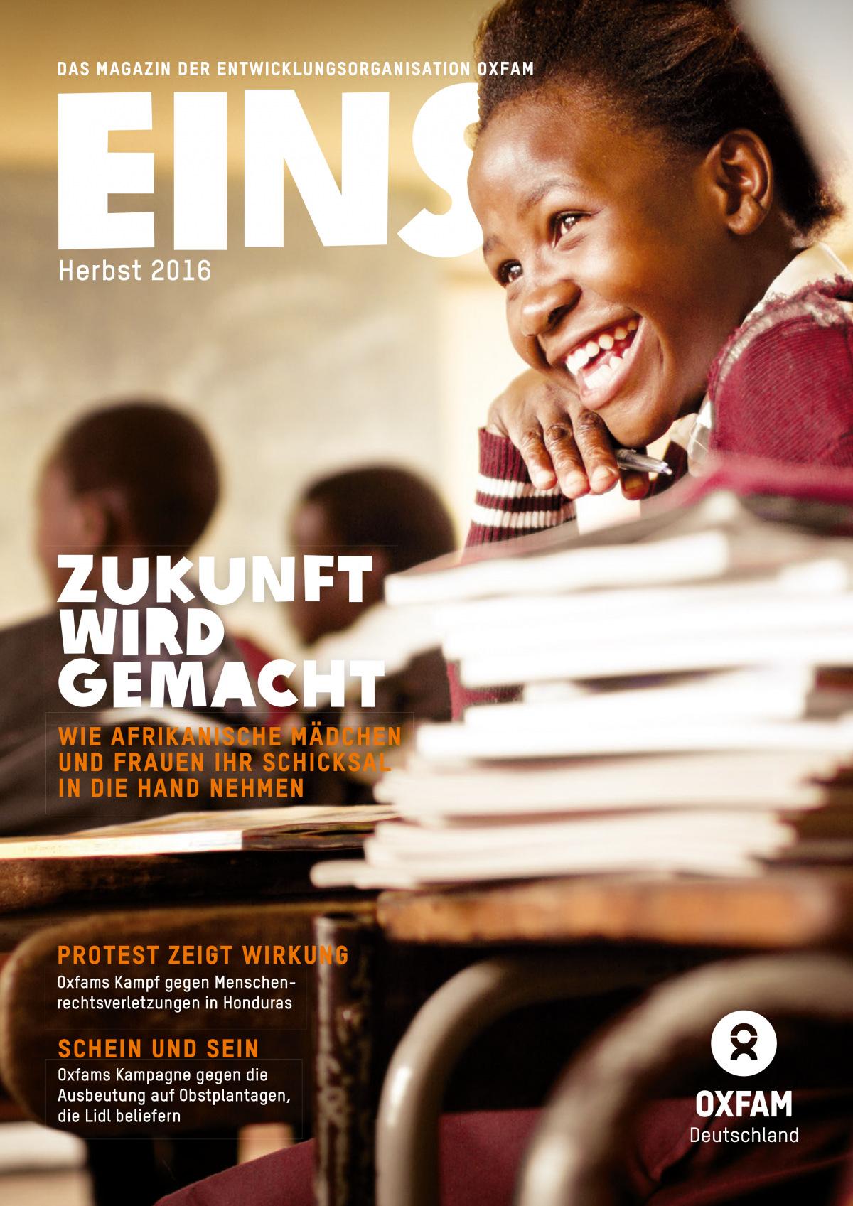 Titelbild vom Oxfam-Magazin EINS (Herbst 2016)