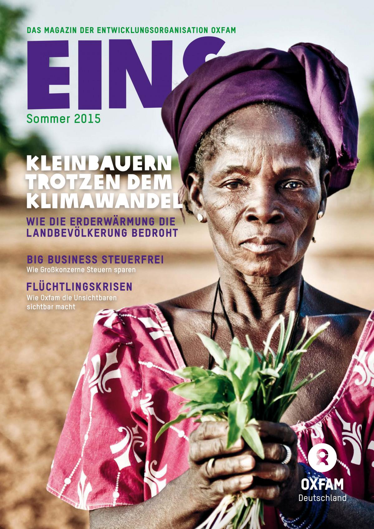 Titelbild vom Oxfam-Magazin EINS (Sommer 2015)