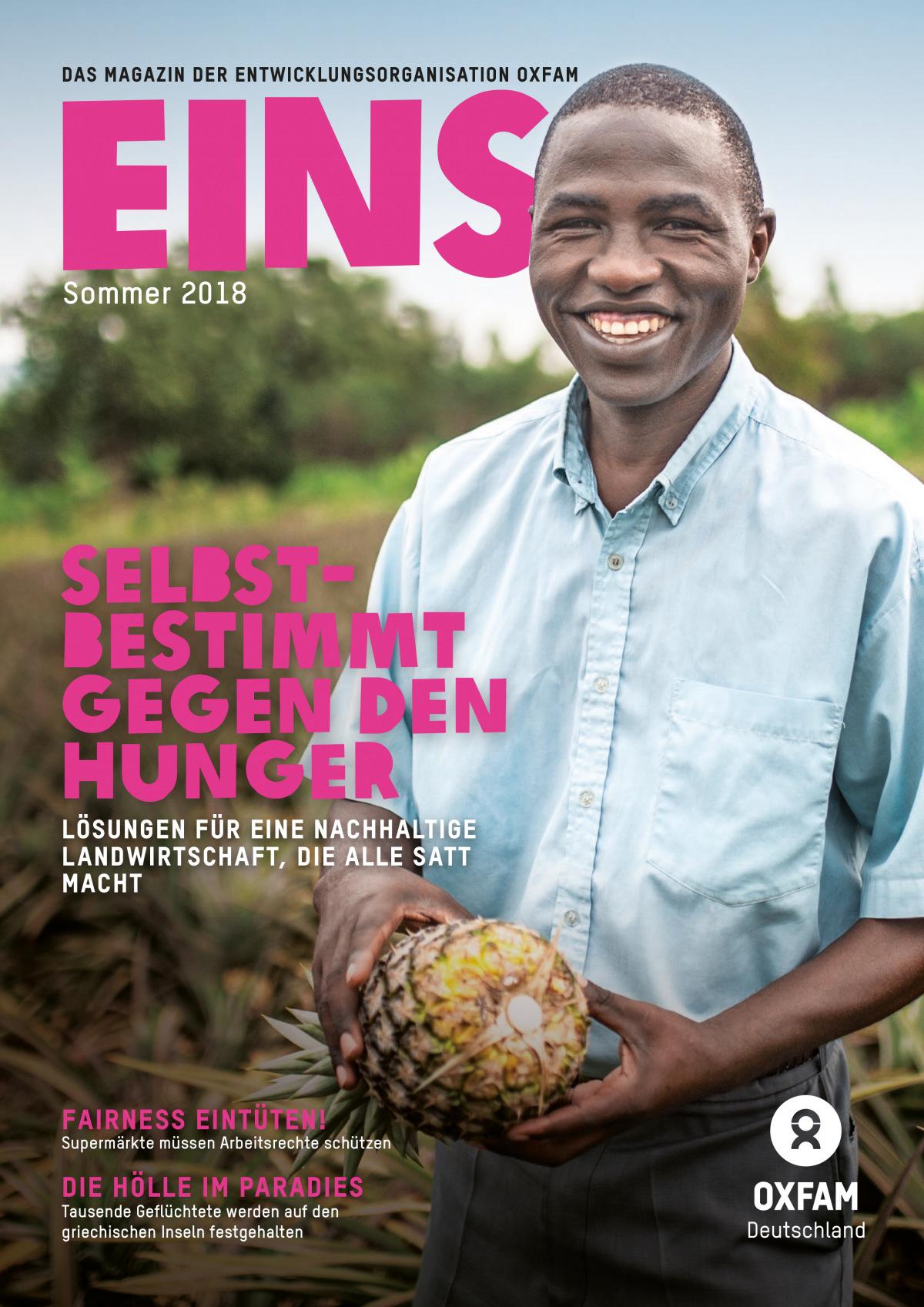 Titelbild vom Oxfam-Magazin EINS (Sommer 2018)