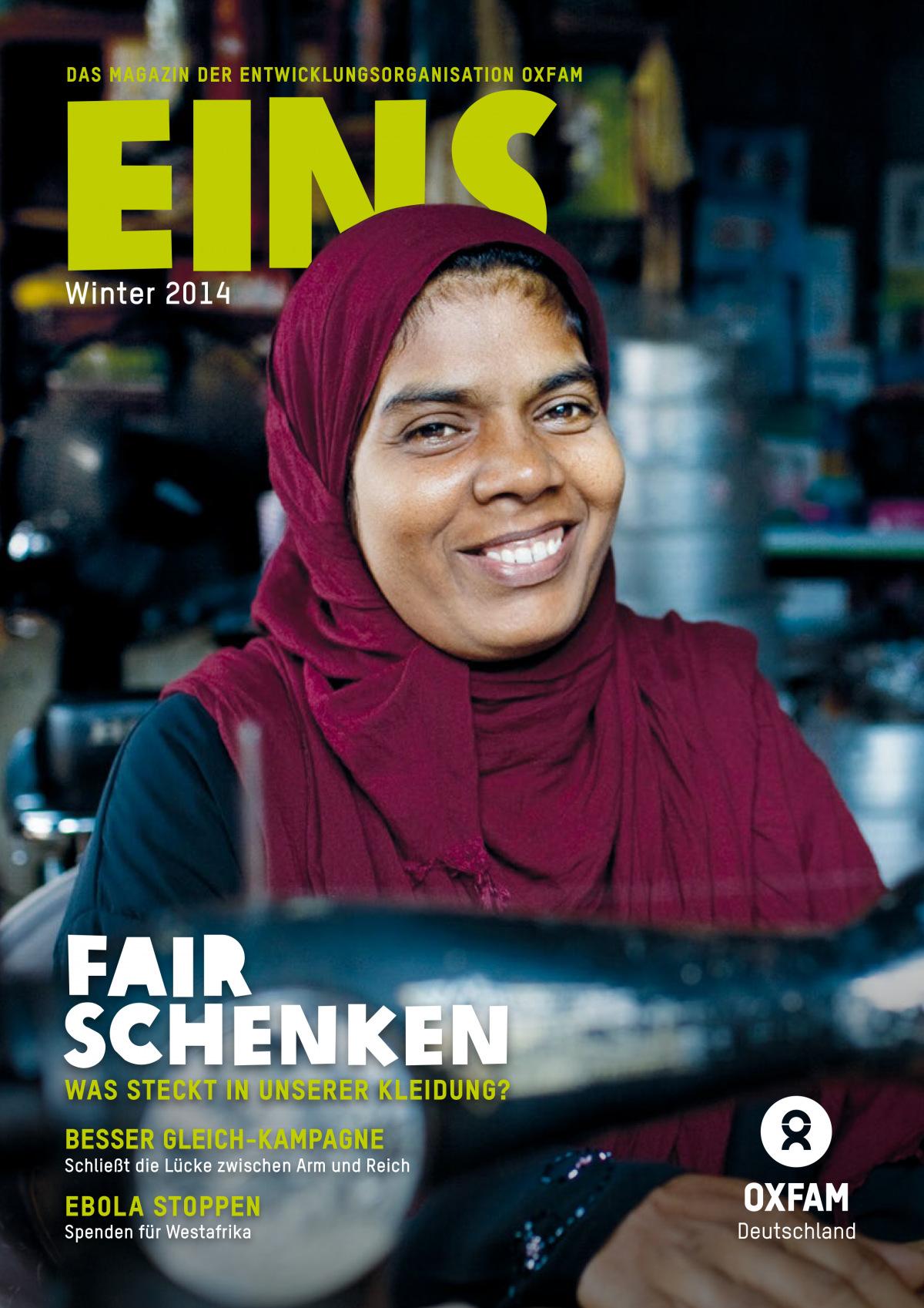 Titelbild vom Oxfam-Magazin EINS (Winter 2014)
