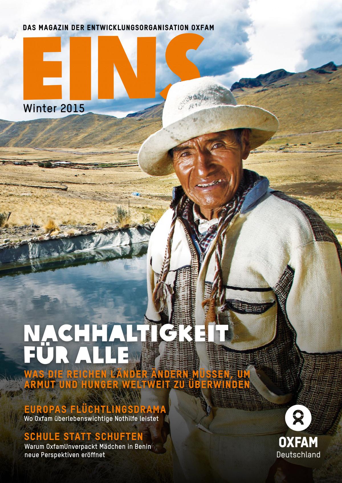 Titelbild vom Oxfam-Magazin EINS (Winter 2015)