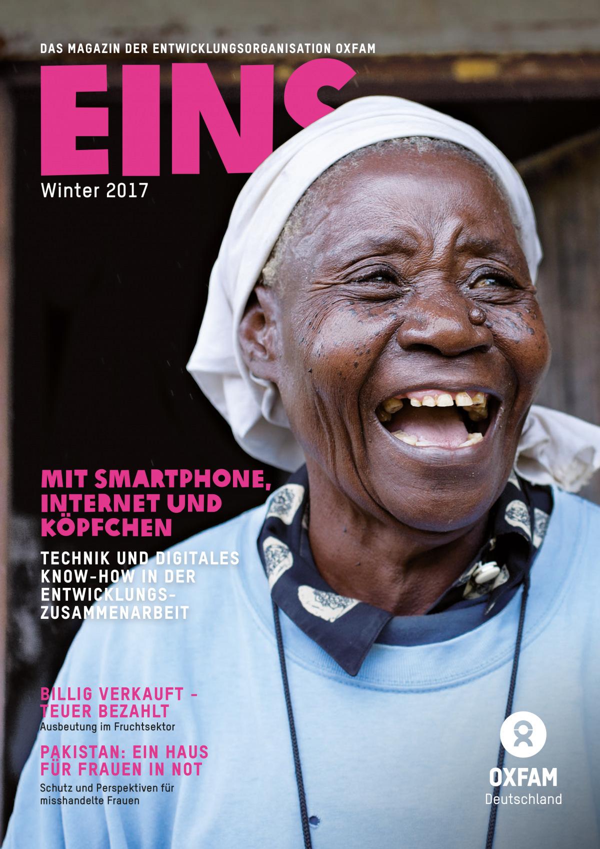 Titelbild vom Oxfam-Magazin EINS (Winter 2017)