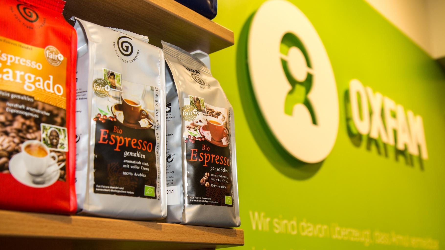 Kaffee aus fairem Handel im Oxfam Shop