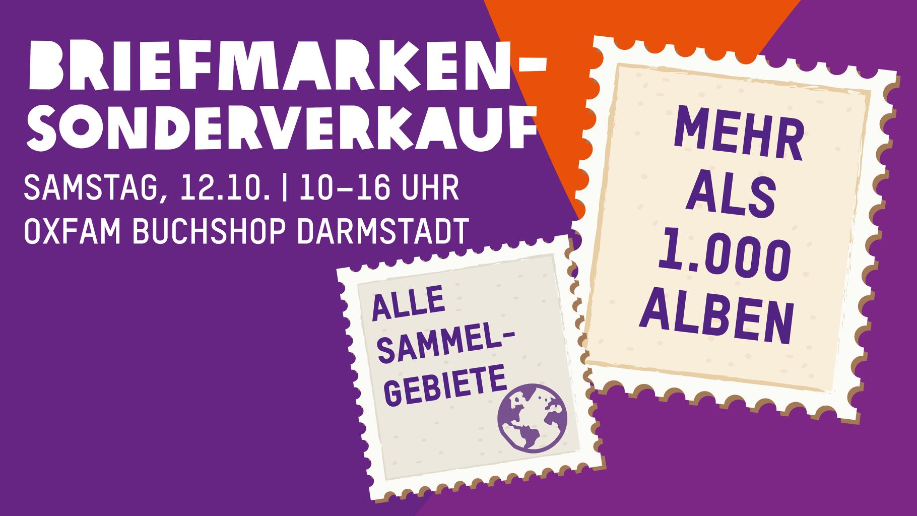 Im Oxfam Buchshop Darmstadt gibt es einen Briefmarken-Sonderverkauf.