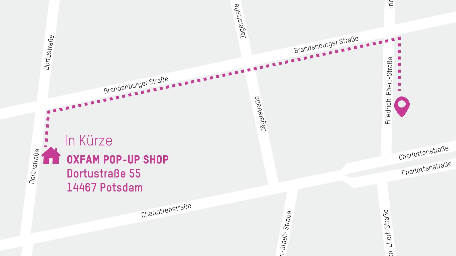 Der neue vorübergehende Standort für den Oxfam Shop Potsdam